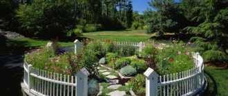 Декоративный заборчик для круглого сада, фото